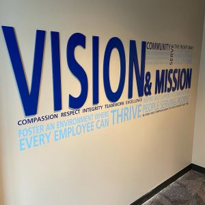 custom lobby dimensional lettering logo sign