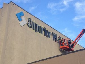storefront outdoor sign installation